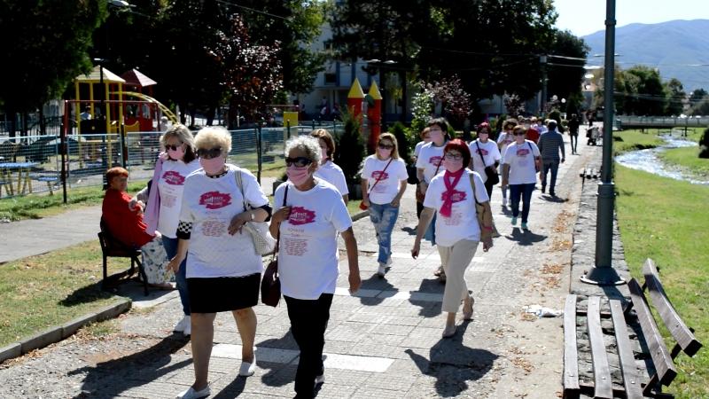 Во Кочани се одржа Розова прошетка за поддршка на болните од рак на дојка